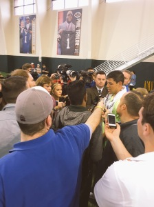 Bryce Petty w/ media post Baylor Pro Day 2015