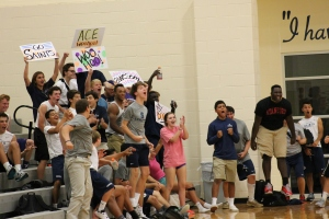 Student section at the All Saints' varsity volleyball game