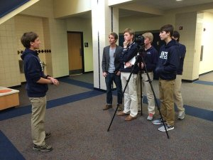 Chris Temple working with the Digital Journalism and Digital Film classes